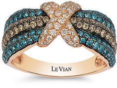 LeVian White Chocolate and Blue Diamond 14K Rose Gold Ring, 1.378 TCW