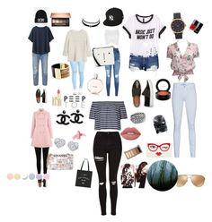"""""""Untitled #3"""" by zaetskaterina ❤ liked on Polyvore featuring Levi's, Uniqlo, MANGO, Topshop, H&M, Karl Lagerfeld, Oasis, Oakley, Lipsy and 7 For All Mankind"""