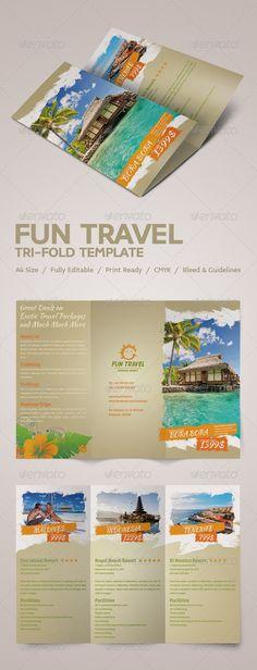Fun Travel Tri-fold Brochure  PSD Template • Download ➝ https://graphicriver.net/item/fun-travel-trifold-brochure/4253907?ref=pxcr