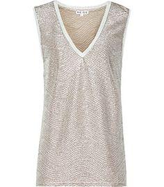 *** a simple shape have in black & cream.     Ona Metallic Gold Metallic Fluid Metallic Vest - REISS