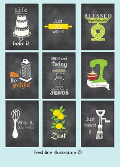 Kitchen Wall Art - Set of 9 - art prints - Funny Kitchen Posters - Chalkboard Inspired Style