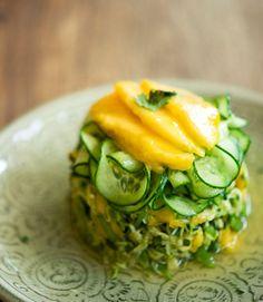 Thai Mango Salad  Ingredients for 2 servings 1 yellow Thai mango1 zucchini1 cucumber150 gr snap peasfresh corianderfresh mint2 tbsp tamarind...