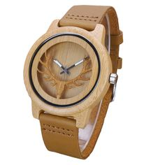Aismei Mens Deer Head Design Buck Bamboo Wooden Watches Luxury Wooden Bamboo Watches With Leather Quartz Watch with box #Luxury watches http://www.ku-ki-shop.com/shop/luxury-watches/aismei-mens-deer-head-design-buck-bamboo-wooden-watches-luxury-wooden-bamboo-watches-with-leather-quartz-watch-with-box/
