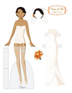 A commemorative wedding set (page 1 of 2) for an old friend's wedding.  Wedding paper dolls are so fun!