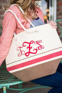 Monogrammed Straw Tote by DarlingCustomDesigns on Etsy