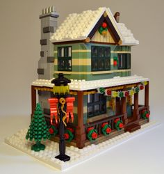 """My entry for Eurobricks """"Expand the Winter Village Contest III"""". Lego Christmas Sets, Lego Christmas Ornaments, Lego Christmas Village, Lego Winter Village, Lego Village, Christmas Villages, Lego Gingerbread House, Cool Lego Creations, Lego House"""