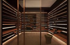 Building a wine room: 16 beautiful wine storage design ideas-a must for my future home. Wine Cellar Design, Wine Design, Cave A Vin Design, Studio Mk27, Home Wine Cellars, Bar Interior Design, Wine Display, Wine Wall, Wine Cabinets