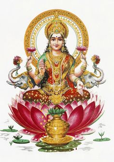 Lakshmi is the Hindu goddess of wealth, fortune and prosperity. She is the wife and shakti (energy) of Vishnu, one of the principal deities of Hinduism and the Supreme Being in the Vaishnavism Tradition. Unalome, Indian Gods, Indian Art, Lakshmi Images, Krishna Images, Hindu Statues, Goddess Lakshmi, Goddess Art, Hindu Art