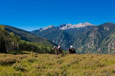 Horse back riding in the mountains