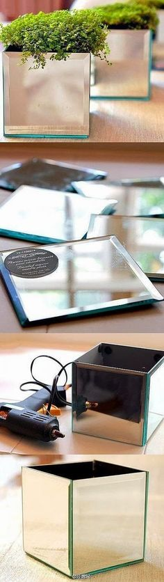 DIY Mirrors Plant Holder -- spring mantel decoration? Wedding centerpiece container?