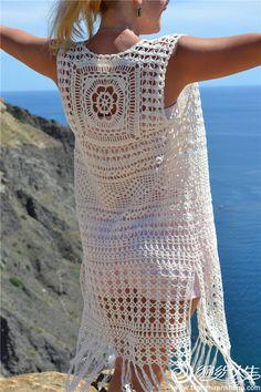 Fabulous Crochet a Little Black Crochet Dress Ideas. Georgeous Crochet a Little Black Crochet Dress Ideas. Gilet Crochet, Crochet Motifs, Crochet Cardigan Pattern, Crochet Jacket, Crochet Blouse, Crochet Bikini, Crochet Patterns, Crochet Vests, Mode Hippie