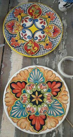 Blue Pottery, Pottery Plates, Ceramic Plates, Decorative Plates, Pottery Painting, Ceramic Painting, Ceramic Art, Talavera Pottery, Southwest Decor