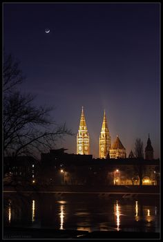 Crescent Moon over Szeged  The 3-day old crescent moon shines in the evening sky above the Cathedral of Szeged; the third largest city of Hungary.  Image credit & copyright: Tamas Ladanyi