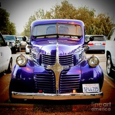 Dodge Truck - this one is particularly colorful, seen here in California. A pickup truck or pick-up, often simply referred to as a pickup, is a light motor vehicle with an open-top, rear cargo area. The windshield of this one is split and also opens. Old Dodge Trucks, Vintage Pickup Trucks, Dodge Pickup, Classic Chevy Trucks, New Trucks, Classic Cars, Dodge Auto, Dodge Cummins, Custom Trucks
