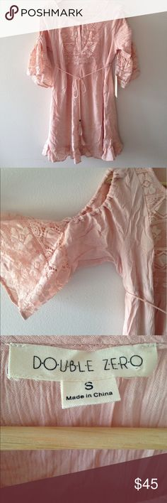 Pink Open Shoulder Peasant Top This cute too has open shoulders, a waist tie with tassels, and tassels on the sleeves. Brand new with tags, never been worn. Measurements upon request. 20% off bundles and sephora gift with every purchase! Cover shot is different from actual item, but it is similar and was used to look better than the picture I took. Double Zero Tops Tunics