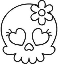 Unique and Awesome Embroidery Designs Halloween Crafts For Kids, Diy Halloween Decorations, Cute Halloween, Skull Coloring Pages, Coloring Books, Girly Skull Tattoos, Art Tattoos, Skull Template, Desenhos Halloween