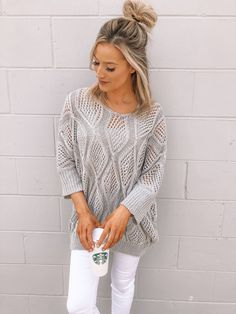 Adorable grey woven crochet knit sweater with wide neckline & dolman sleeves. Knit fabric is sheer, pictured with a bralette underneath. Available in sizes S/M and M/L. Made to fit loose, made of soft acrylic fabric. Dottie Couture Boutique, Knitted Fabric, Summer Time, Spring Outfits, White Jeans, Bell Sleeve Top, Neckline, Women's Fashion, Knitting