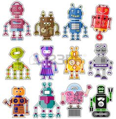 Set of twelve colorful and cute robots Stock Vector