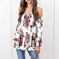 Women Blouse, 2018 Summer Off Shoulder Floral Printed Plus Size Casual Long Bell Sleeve Tops T Shirt (White, XXL) Floral Tops, Floral Prints, Bell Sleeves, Bell Sleeve Top, Plus Size Casual, Blouses For Women, Fashion Brands, Topshop, T Shirt