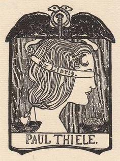 ≡ Bookplate Estate ≡ vintage ex libris labels︱artful book plates - by Adele von Finck (1879-1943) for Paul Thiele - c. 1900