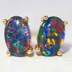Cute Triplet Opal 14k Yellow Gold Earrings Ws578