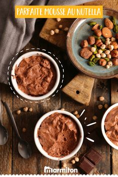 We love this super fast Nutella mousse recipe, which gives it a slight nutty flavor! Mousse Au Nutella, Beef Recipes, Yummy Treats, Breakfast Recipes, Deserts, Easy Meals, Food And Drink, Lunch, Dining