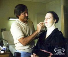 "Academy Award nominated Lance Anderson applies ""fat"" prosthetic makeup to Kathleen Turner for Steve Martin's THE MAN WITH TWO BRAINS."