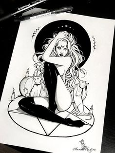 Glossy print with my drawing Witchcraft made for inktober Its measuring Aceo cm inches) Postcard cm inches) Print 20 ( 8 inches) Print cm 16 inches) The print is done on canon glossy photo paper, ensuring great quality and vibrant, long lasting Demon Drawings, Creepy Drawings, Dark Art Drawings, Art Drawings Sketches, Tattoo Drawings, Cute Drawings, Unique Drawings, Bd Art, Witch Drawing