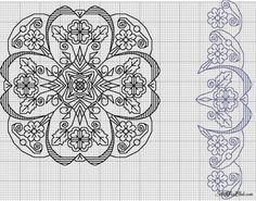 Beautiful ornate large blackwork flower and border Blackwork Cross Stitch, Biscornu Cross Stitch, Blackwork Embroidery, Folk Embroidery, Cross Stitch Borders, Cross Stitch Kits, Cross Stitch Charts, Cross Stitch Designs, Cross Stitching
