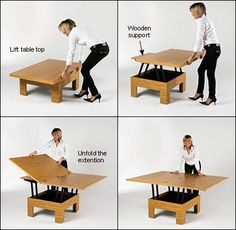 """POP-UP DINING TABLE KIT:  With this hardware, you can build a coffee table that converts to a dining table!  A square coffee table top, with a maximum size of 37.75""""L x 37.75""""W (recommended for stability) makes a table that unfolds to 75.5""""L x 37.75""""W.  CAD$ 139.00 - leevalley.com"""