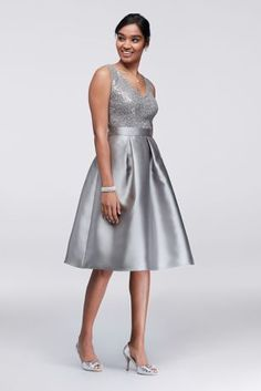 Sequin and Mikado Knee-Length Dress with Jacket 114506