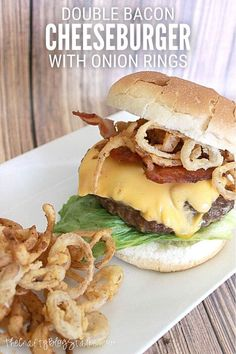 Grill a delicious double bacon cheeseburger topped with mini onion rings. Click here for the complete step-by-step recipe tutorial. Yum! #thecraftyblogstalker #baconcheeseburger #onionrings Double Bacon Cheeseburger, Dessert, Summer Bbq, Snacks, Barbecue Sauce, Onion Rings, Ground Beef, Grilling, Dinner Recipes