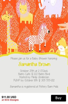 Cool Animals Baby Shower Invitation- 1 Sided