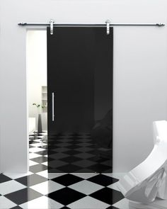 Exterior, : Modern Home Interior Decoration Of Single Black Sliding Door Combine With White Wall Paint And Checkerboard Floor Complete With Stylist Home Furniture Design Sliding Pantry Doors, Internal Sliding Doors, Modern Sliding Doors, Sliding Glass Door, Glass Doors, Closet Doors, Cupboard Doors, Sliding Wardrobe, Wardrobe Doors