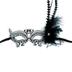 Metal Venetian Birds Eye With Feathers Black Mask - 299313 - Masquerade Mask | trendyhalloween.com #venetianmask #masquerade #masquerademask #lasercut
