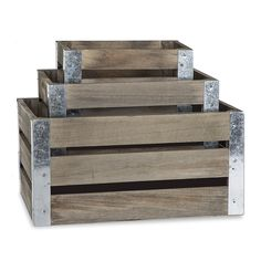 Rect Wooden Crate with Metal Corner Set of Three - Antique Grey The Lucky Clover Trading Co. Playroom Shelves, Playroom Table, Playroom Furniture, Playroom Decor, Nursery Decor, Playroom Ideas, Interior Styling, Interior Decorating, Home Decor Baskets