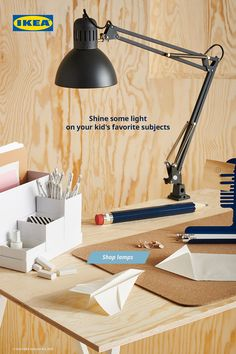 The right light illuminates a world of difference when it comes to your child's home school space. Find a reliable, stylish lamp to make sure they can focus on their homework, projects and activities.  #homeschool #homestudy #backtoschool #homeschoolideas #officeideas #kids