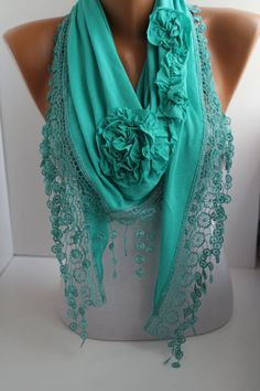 NEW Mothers Day Gift Turquoise Mint Rose Shawl/ Scarf  by DIDUCI, $22.00