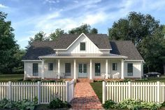 Plan Lovely Farmhouse Plan with Vaulted Living Room This farmhouse exudes old-world charm with its simplistic, symmetrical exterior, while the stunning interior boasts a well-though-out floor plan for today New House Plans, Dream House Plans, House Floor Plans, My Dream Home, Dream Houses, Simple Floor Plans, Coastal House Plans, Log Houses, Bungalow House Plans