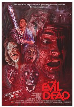 """Evil Dead"" with Bruce Campbell. A cult classic. Five friends travel to a cabin in the woods, where they unknowingly release flesh-possessing demons. Photo and info credit: IMDb."