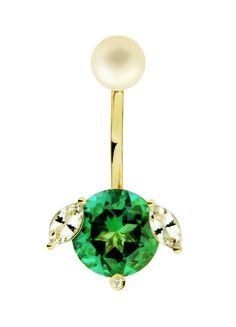La boucle d'oreille chior vert Magic Pooch de Delfina Delettrez en topaze et perle
