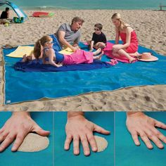 Giant Sandless Beach Mat. Sand and water are instantly filtered through as soon as they fall on this mats surface - and it cant re-emerge back through the bottom!