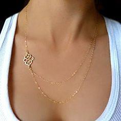shixin® europeo (nudo) Collar de cadena pequeña (oro, plata) (1 unidad)