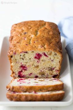 With chopped cranberries, walnuts, and hints of orange. Perfect for the holidays. On Delicious cranberry nut bread! With chopped cranberries, walnuts, and hints of orange. Perfect for the holidays. Cranberry Dessert, Cranberry Orange Bread, Orange Zest, Cranberry Juice, Dessert Bread, Dessert Recipes, Desserts, Nut Bread Recipe, Bisquick Recipes