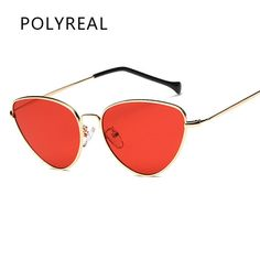 POLYREAL Retro Red Cat Eye Sunglasses Women Brand Designer Tinted Color Clear Lens Vintage Women Eyewear UV400