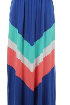 Chevron Color Block Maxi Dress