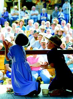 This isn't the time to be intimidated by the crowd! We love these little ones in this photo during the Wooly Worm contest at Charm Days! CLICK HERE for more about Ohio's Amish Country at www.OACountry.com! #Amish #Ohio #Tourism