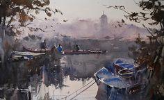 Eugen Chisnicean - DANUBE, MORNING I Watercolor on Paper, 36cm x 54cm