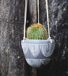 Arc Garland Black & White Hanging Ceramic Planter by Half Light Honey Studio on Scoutmob