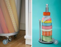 """Roundup: 10 Genius Gift Wrap Storage Solutions #[""""contemporary"""", """"Creative Reuse"""", """"organizing"""", """"Office & Workspace"""", """"How-To"""", """"Inspiration""""] Gift Wrap Storage, Wrapping Paper Storage, Diy Toy Storage, Ribbon Storage, Storage Ideas, Office Storage, Gift Bag Organization, Organizing, Organization Hacks"""